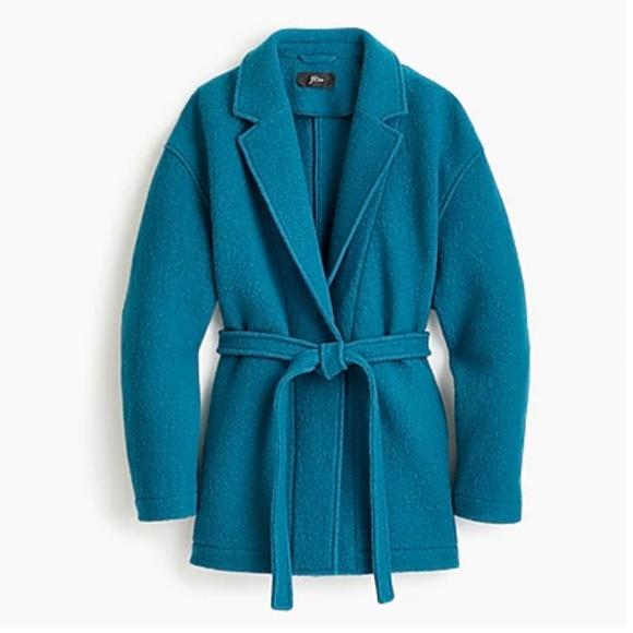 e4e0e6831bc46 Camille short wrap coat in Italian boiled wool-J48. NWT. J. Crew
